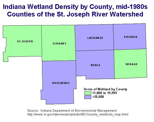 Density Of Wetlands In Indiana Counties In The Watershed Go To The Idem Website For A Map Of All Counties And A Table Of Wetland Acreages By County